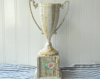 Mixed Media altered art urn trophy vintage and antique ephemera papers folk art Cream Cottage Decor