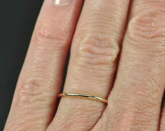 14K Yellow Gold Full Round 1.25mm Skinny Ring, Solid Gold, Recycled Metal, Eco-Friendly, Sea Babe Jewelry