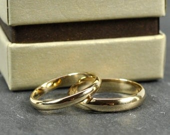 14K Yellow Gold 3x1.5mm and 4x1.5mm Half Round Wedding Band Set, Classic Rings, Sea Babe Jewelry
