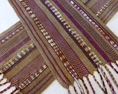 Handwoven Scarf - Woven Mauve Tan Tencel Scarf, Rayon ribbon sparkle accent