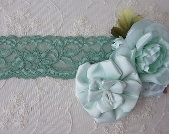 2 yds SEA FOAM GREEN Stretch Lace Lingerie Headband Camisole Clothing Altered Couture Hair Accessory Supply