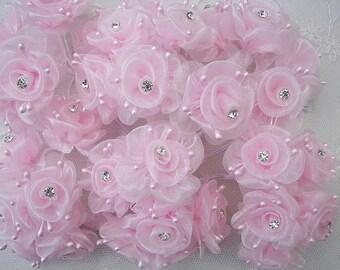 36 Chic PINK Organza Ribbon Wired Rose Flower w rhinestone Christmas Holiday Bridal Wedding Favor Bow Hair Accessory Applique