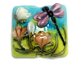 Glass Lampwork Bead - Purple Dragonfly Pillow Focal Bead 11816904