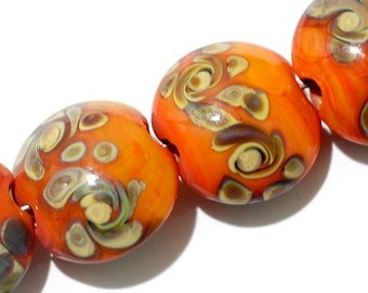 Seven Coral w/Beige Lentil Beads-11102702-Handmade Lampwork Glass Beads