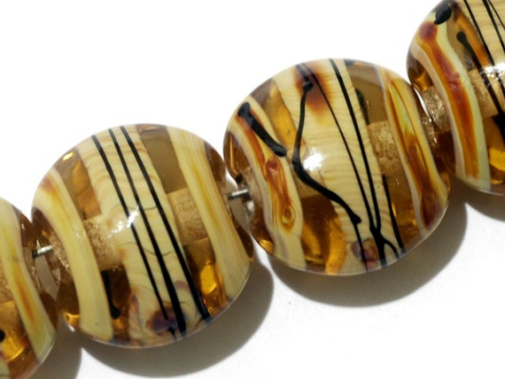Glass Lampwork Bead Set - Four Transparent Brown w/Beige Strips Lentil Beads 11106112