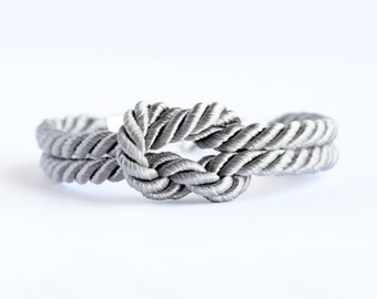 Shiny fog gray forever knot nautical rope bracelet with silver anchor charm