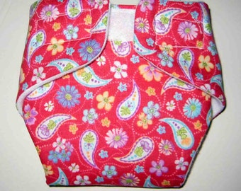 Baby Doll Cloth Diaper-Paisley-Fits Bitty Baby, Baby Alive, Cabbage Patch, American Girl Dolls and More