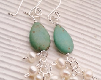 Turquoise teardrops with wire wrapped white freshwater pearl earrings