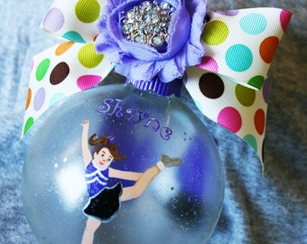 """HOLIDAY CHEER personalized hand painted 4"""" glass ornament"""
