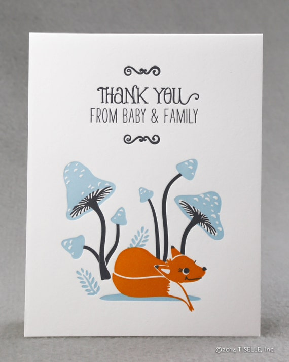Box of 6 Letterpress Baby Thank You Cards, Baby Fox and Family