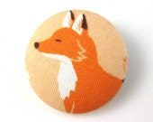 Fox Pin - Fox Fabric Covered Button Pin - Pinback Button - Fox