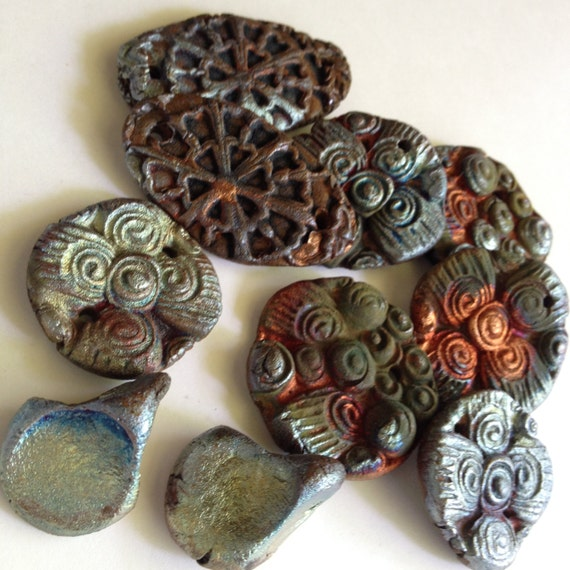 164. Viking Invasion Hoard  Ten Charms Copper Moss Green Burgundy  Raku Pendants