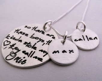Grandma Necklace - Omie Necklace - Personalized Necklace - So There are These Boys  - Personalized Jewelry - hand stamped necklace