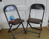 Vintage Pair Child Chair Folding Metal Industrial Retro Nursery Decor Brown