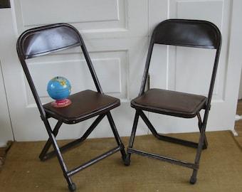 Vintage Pair Child Chair Folding Metal Industrial Retro Nursery Decor Brown