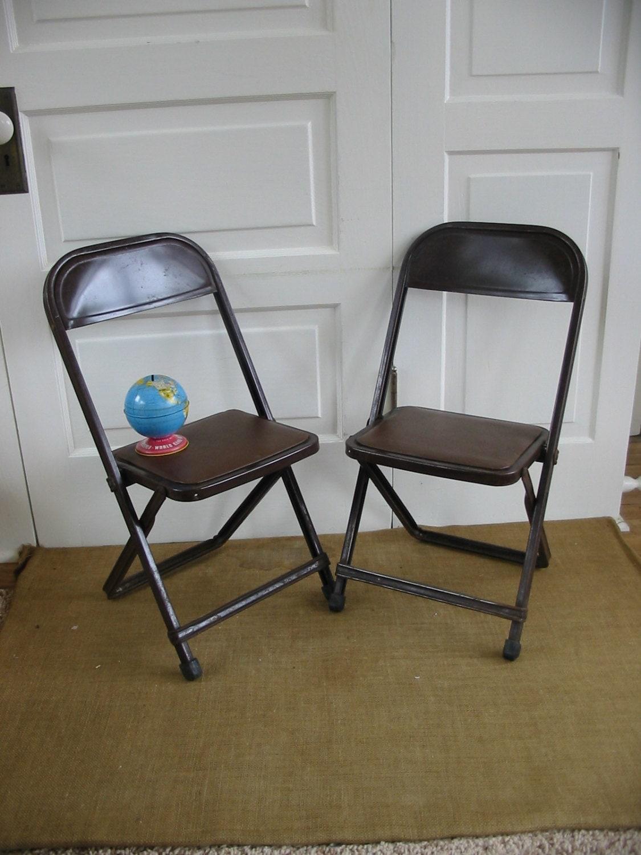 Vintage Pair Child Chair Folding Metal Industrial Retro