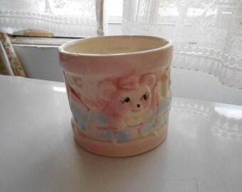 Vintage Ceramic Baby Planter Round Drum White Pink Blue Green Yellow