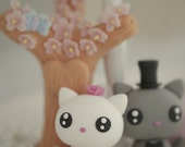 kitty and cat Wedding Cake Topper---k842