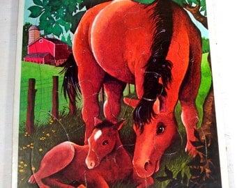 Vintage Horse and Colt Puzzle, Child's Frame Tray Puzzle, Farm, Children, 1977  (402-14)