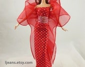 Red Barbie Evening Dress and Accessories
