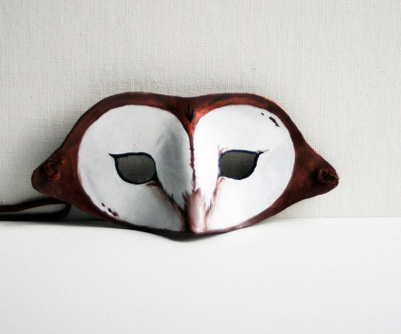 Leather Barn Owl Mask - Childrens Costume Play Halloween - Woodlands Brown and White