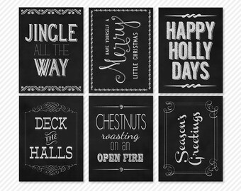 chalked christmas chalkboard word art project life journaling cards - digital scrapbooking - automatic download