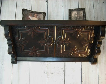 Wall Shelf Picture Shelve Matte Black Crest Pattern