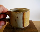 Tiny espresso cup, demitasse, yellow and stone green