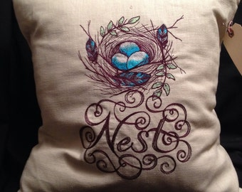 683 Embroidered Nest Pillow on Linen