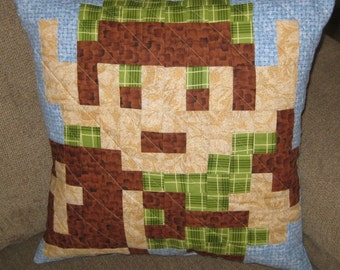 Link Quilted Pillow Cover - Light Blue BG - free USA shipping