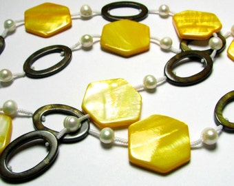 Yellow and Brown Long Necklace