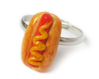 Hot Dog Ring - Handmade fast food miniature hot dog