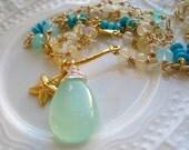 Aqua Chalcedony and Opal Necklace-Starfish Gemstone Necklace-Sea Goddess