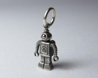 robot pendant TINY NANOBOT solid sterling silver