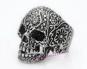 Flower skull sterling silver ring, gothic, calaca, mens ring, big ring,sugar skull, anillo calavera de plata
