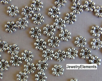 Antique Silver Metal Daisy Spacer Beads 300 pc  5mm  (K6-X)