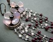 Pink Dogwood Flower chandelier earrings  - sterling silver , natural pink chalcedony, rose quartz, red garnet  and black onyx gemstones