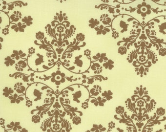 Lily and Will Medallion fabric | Sage Green Brown | Quilting Cotton fabric
