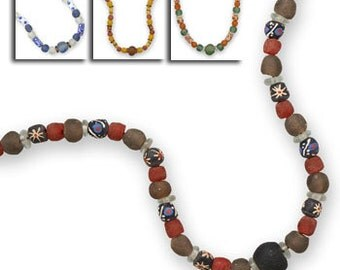 Handmade African Trade Bead Necklace, Recycled Glass, Ghana, South Africa. Trade Bead, Beaded Necklace, Handmade, Hand Painted, Kwanzaa