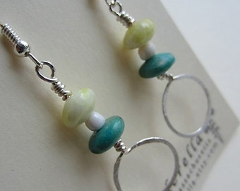 Hand hammered Wire and Beaded Dangle earrings in turquoise, lemon yellow, and silver