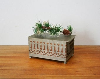 vintage 30s Wood and Metal Cut Out Small Footed Jewelry Box