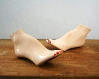 vintage 60s Womens Display Foot Pair of Feet with Painted Toenails