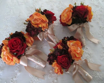 Autumn Orange Realtouch and Silk Rose Flower Orange Red and Champagne Bridal bouquet wedding Set