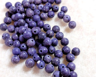 Tiny Round Gemstone Beads Purple Violet Color 4mm Matte Finish A7
