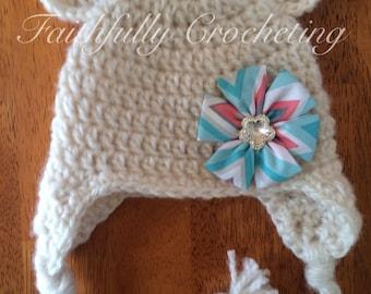 Newborn bear hat.. Fabric flower hair clip... Photography prop.. Ready to ship