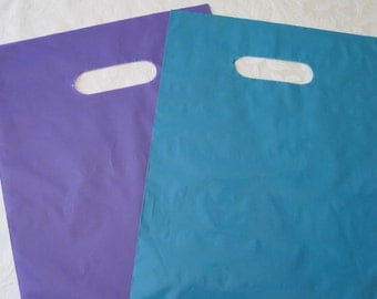 Purple Plastic Bags, Blue Plastic Bags, Gift Bags, Favor Bags, Bags with Handles, Merchandise Bags 9x12 50 Pack
