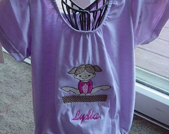 Personalized Lilac Gymnastisc Gymnast  Girls Toddler Tumbling Leotard  Size Medium 2-4T Embroidered Short Sleeves Balance beam