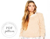 PDF pattern SOPHIE sweater trendy chunky round collar and cables