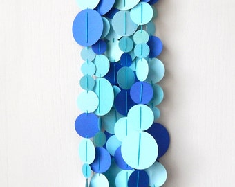 Blue Green Circle Garland / Nursery Bunting / Party Garland / Spring Garland / Easter Garland / Sea Party Garland /Photo Prop