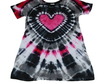 Tie Dye Dress in Black, Gray and Hot Pink with a Hot Pink Heart